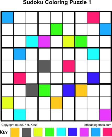 color sudoku erasable weblog 187 colorings