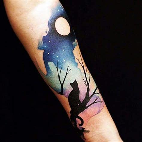tattoo cat tree night sky and cat tattoo on arm tattoos on women