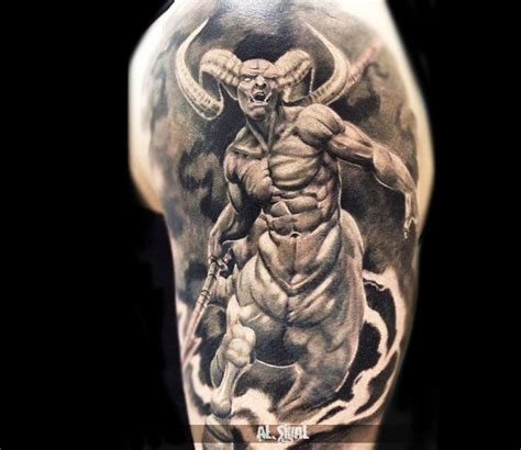 demon tattoo sleeve designs by romashev tatto