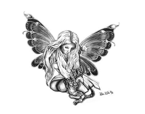 drawn fairy black and white pencil and in color drawn
