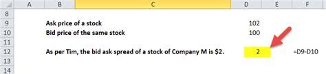 spread bid ask bid ask spread formula calculator with excel template