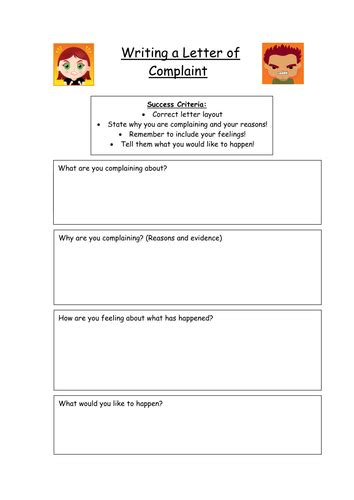 letter complaint planning frame teaching resources