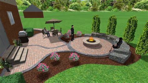 Brick paver patio and fire pit   3D Landscape Designs