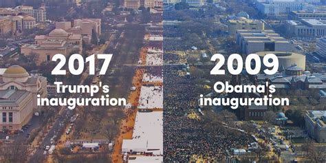 picture of inauguration crowd side by side photos of s inauguration crowds versus