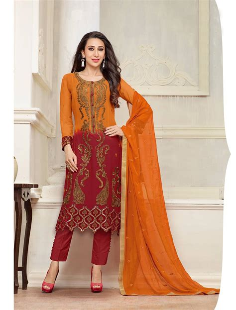 latest designer plazo suits thankar new designer orange and maroon straight plazo suit