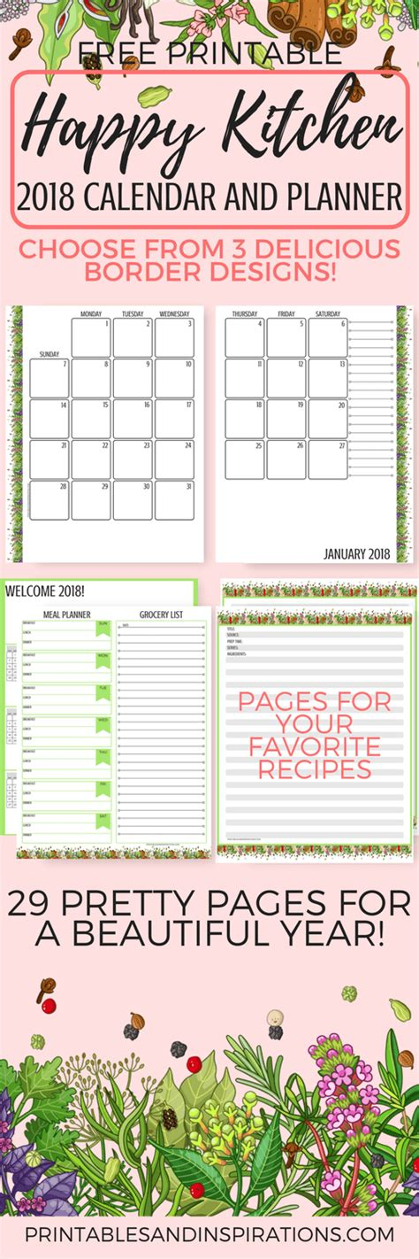 printable kitchen calendar cute printable monthly calendar 2017 free