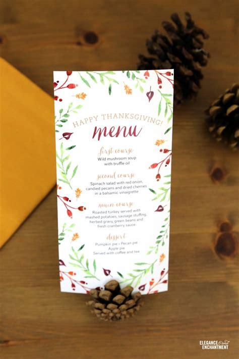 printable thanksgiving menu cards thanksgiving menu printables