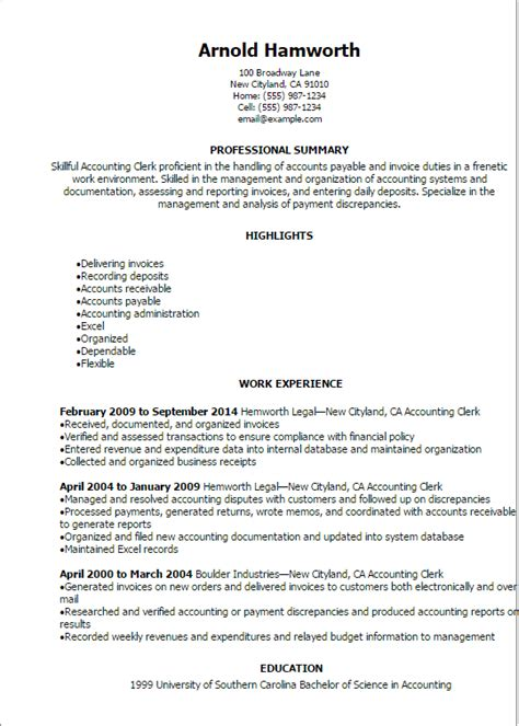 Accounting Clerk Resume Sles 2012 Professional Accounting Clerk Resume Templates To Showcase Your Talent Myperfectresume