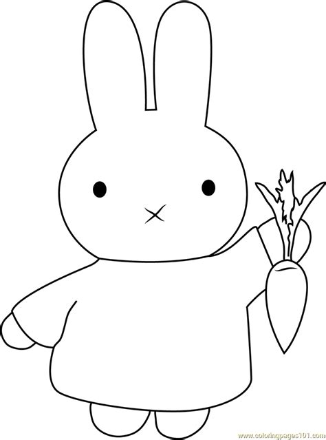 Miffy With Carrot Coloring Page Free Miffy Coloring Miffy Coloring Pages