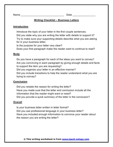 Business Letter Writing Assessment Business Letters Writing Checklist