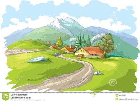 clipart montagna paesino di montagna illustrazione vettoriale