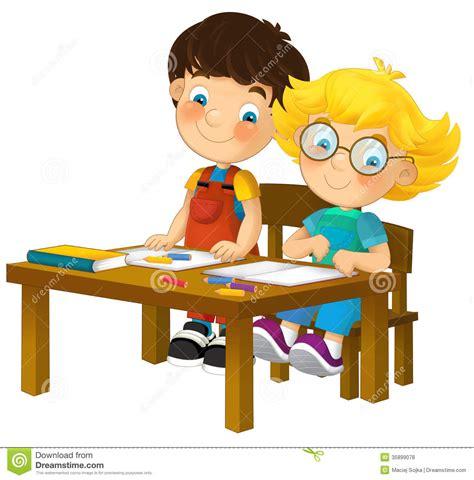 Lps Help Desk Cartoon Children Sitting Learning Illustration For The