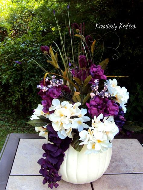 white purple plum eggplant pumpkin silk flower table centerpiece summer autumn fall