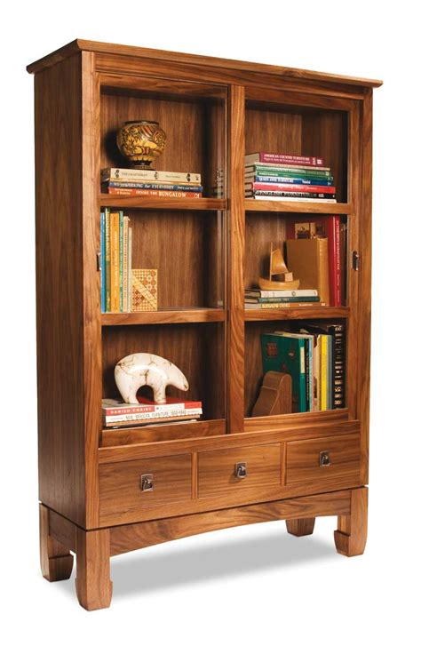 Sliding Door Bookcase Popular Woodworking Magazine Bookcase With Doors Plans