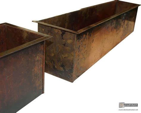 Sheet Metal Planters by Burnished Copper Planters Custom Fabricated Modern