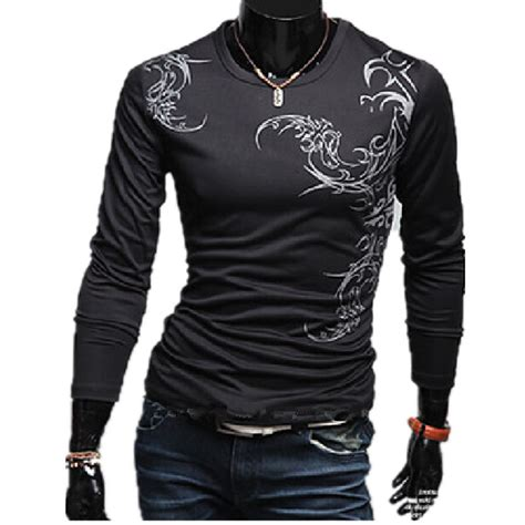 new tattoo under shirt 2016 new mens fashion spring long sleeve dragon tattoo