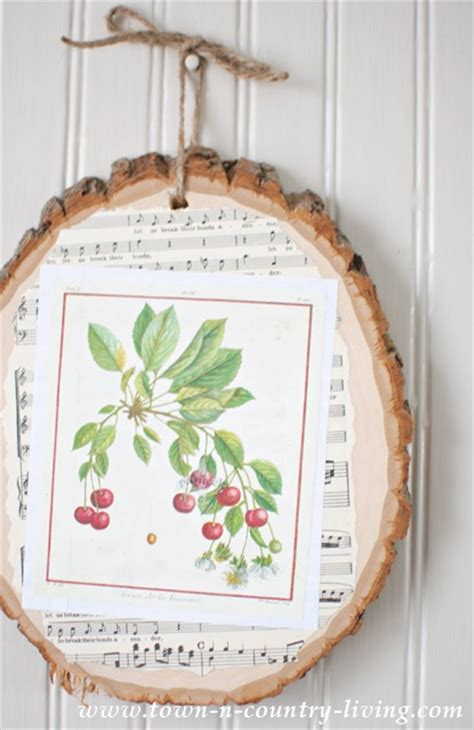 How To Decoupage On Wood - how to make decoupage wood slice town country living