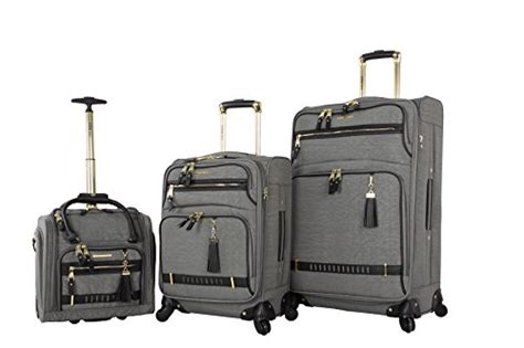 steve madden luggage 3 softside spinner suitcase set collection peek a boo grey