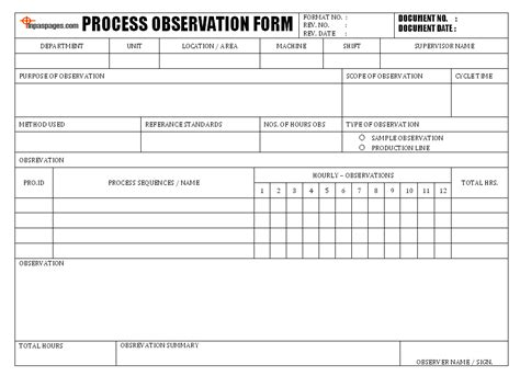 Process Observation Form Lean Six Sigma Bord Pinterest Process Improvement Form Template