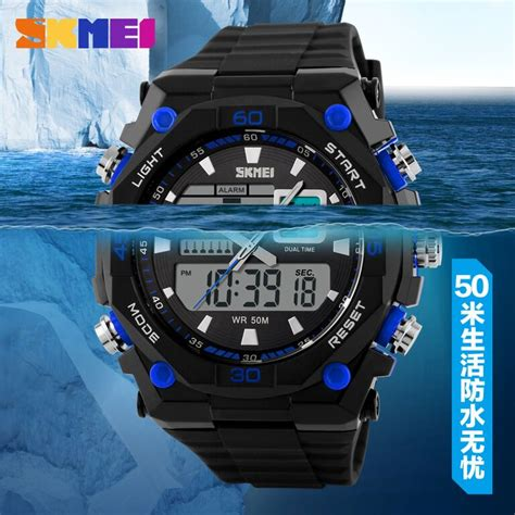 skmei jam tangan sporty digital analog pria ad1092 black with white side jakartanotebook