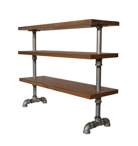 Galvanized Pipe Shelf by Freestanding Industrial Wood Shelf With Galvanized By