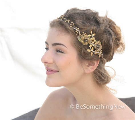 A Gold Sprayed Flower Crown Wedding Hairstyles Photos   gold wedding crown rustic bridal hair wedding accessory gold