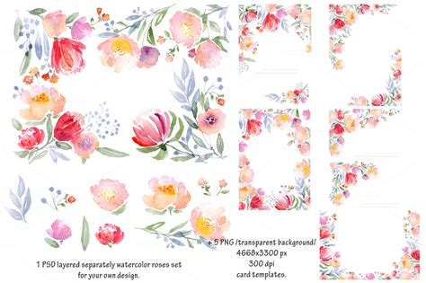 watercolor diy roses graphics set card templates on