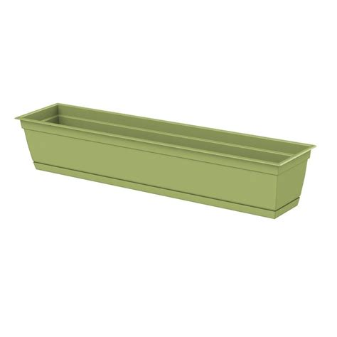 home depot window boxes dayton 36 0 in x 6 70 in green plastic window box 486367
