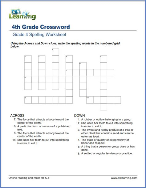K5 Learning Worksheets by Fourth Grade Spelling Worksheets K5 Learning