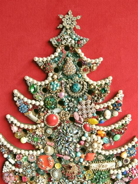 framed jeweled christmas tree for tiny lights
