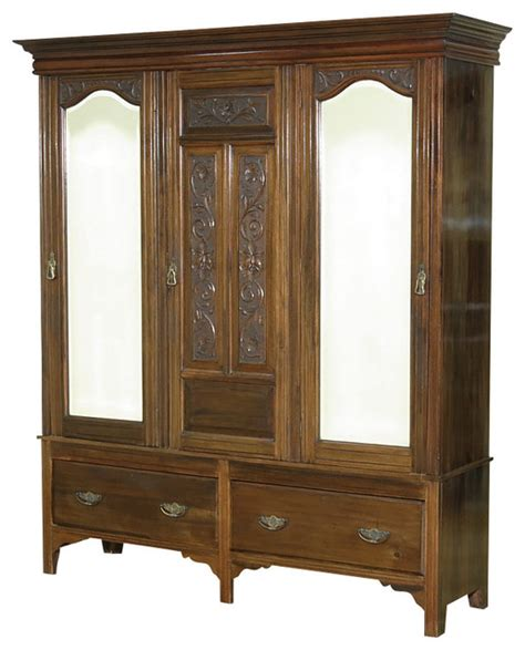 antique armoire wardrobe closet consigned antique walnut victorian sectional armoire