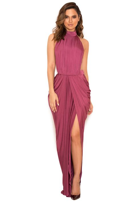 Maxi Dress Silky clothing max dresses vittoria raspberry draped silky