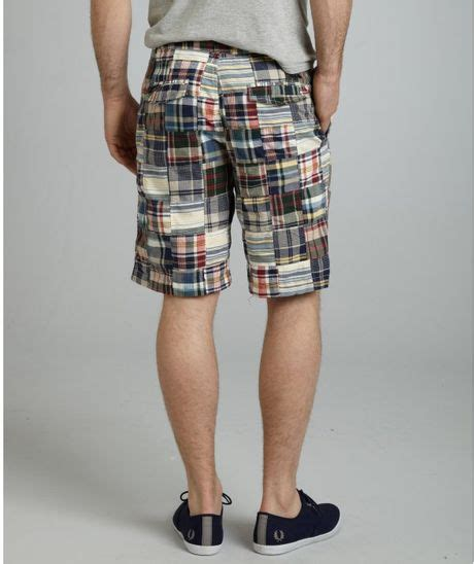 Mens Madras Patchwork Shorts - canterbury of new zealand blue patchwork madras cotton