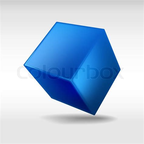 blue cube isolated on white background vector illustration