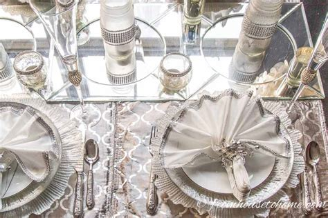 White and Silver Christmas Table Setting