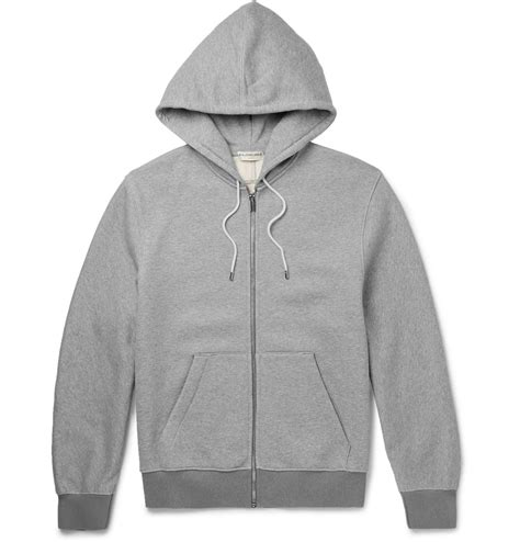 balenciaga fleece back cotton jersey zip up hoodie in gray for lyst
