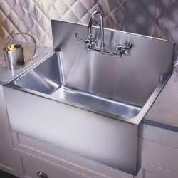 kitchen sinks large apron basins with steel backsplash by just
