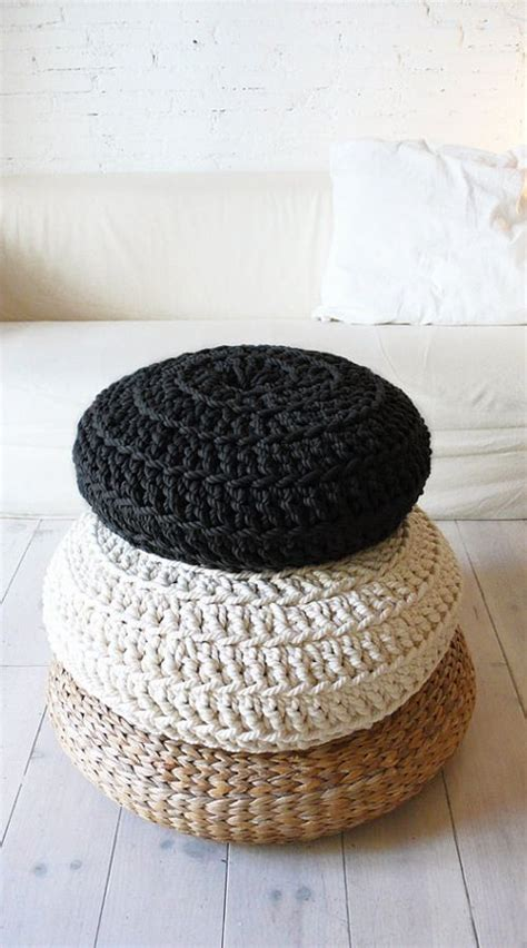 pouf floor cushion floor cushion crochet thick cotton black floor