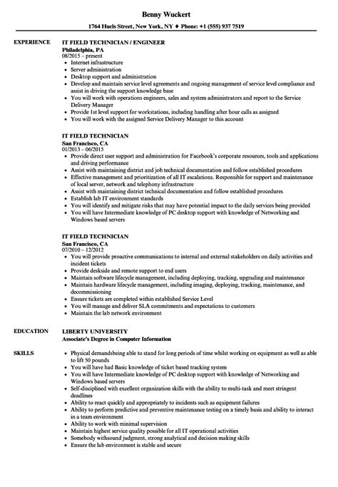 field service technician resume sles it field technician resume sles velvet