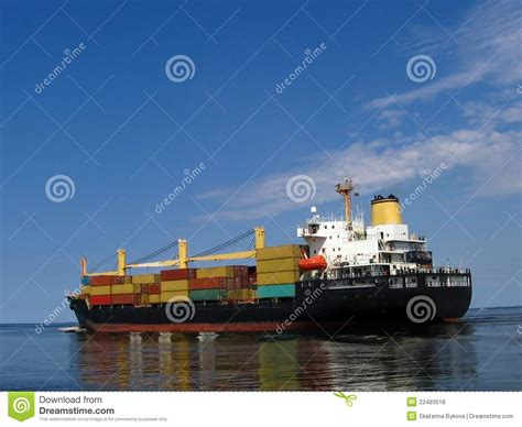 the green ship red ship with yellow red blue green cargo royalty free stock photos image 22493518