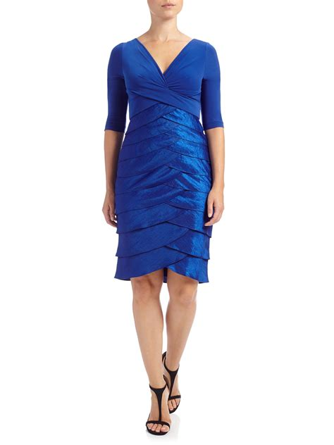 Sleeve Tiered Dress papell 3 4 sleeve shimmer tiered dress in blue lyst