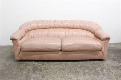 Coloured Leather Sofas 80 S Style Glam Blush Colored Leather Sofa At 1stdibs