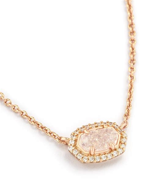 kendra light pink drusy chelsea gold pendant necklace in iridescent drusy