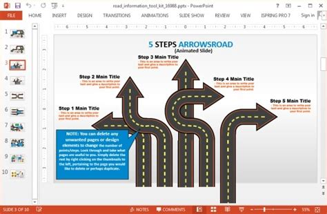 free powerpoint templates roadmap animated road information toolkit for powerpoint