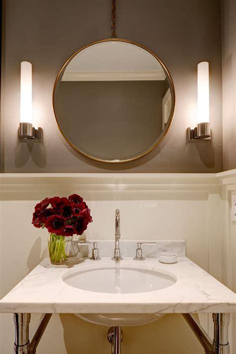 transitional modern powder room  washstand  michelle