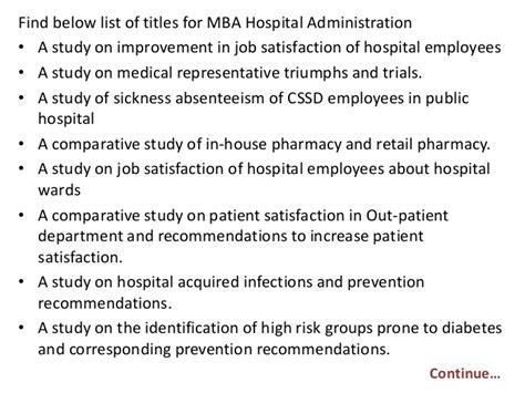 Hospital Mba Project by Project Report Titles For Mba In Hospital Administration