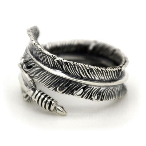 silver feather ring 925 sterling bird feather ring