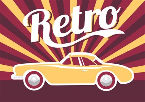 vintage car retro transportation vector free