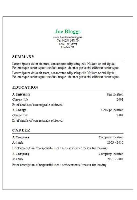 How To Write A Cv Template by Classic Border Cv Template How To Write A Cv