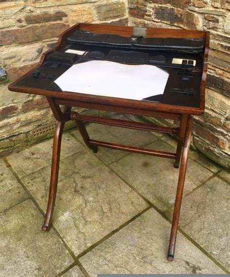 Antique 19th Century Folding Caign Writing Table Desk Folding Writing Desk